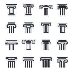 column icons. Ancient columns vector icon set. Vector black column icons set on white background.