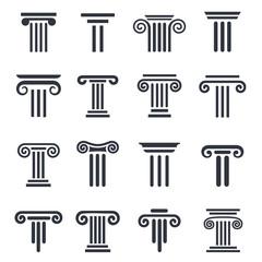 black column icons. Ancient columns vector icon set. Vector black column icons set on white background.