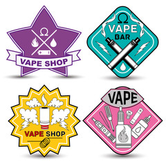 vape life labels. Vape shop and bar Isolated logos on white background. Set of vape, e-cigarette emblems, labels, prints and logos
