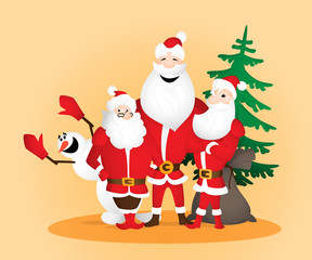 Three Santa Clauses with snowman and sack and Christmas tree