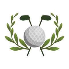 competition icon of golf sport with ball and sticks elements over white background. colorful design. vector illustration