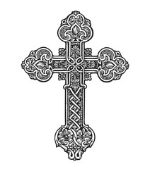 Beautiful ornate cross. Sketch vector illustration
