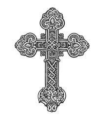 Beautiful ornate cross. Sketch vector illustration