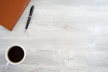 Desk table with coffee cup