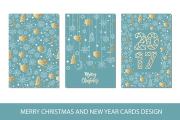 Set of Merry Christmas and Happy New Year card template in geometric style.