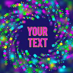 Vector background in outer space theme. Scattered colored shapes on a dark blue background. Space for text. Image of a bright design.
