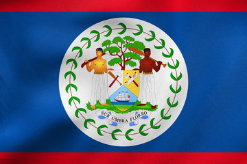 Flag of Belize waving, real fabric texture