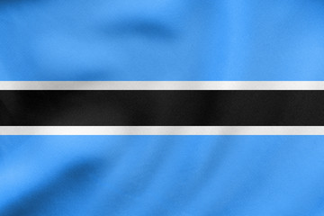 Flag of Botswana waving, real fabric texture