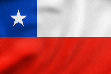 Flag of Chile waving, real fabric texture
