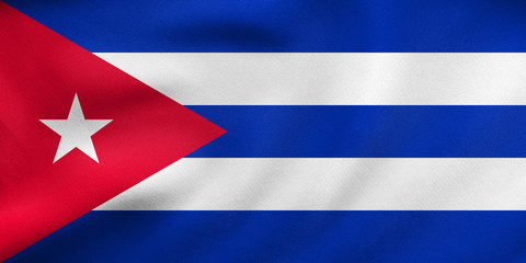 Flag of Cuba waving, real fabric texture