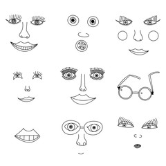 Child drawing face, Seven images of the face and its elements in the children's style points, on a white background