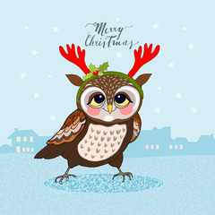 Owl with antlers, winter background. Christmas greeting card, hand drawn vector illustration