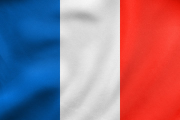 Flag of France waving, real fabric texture