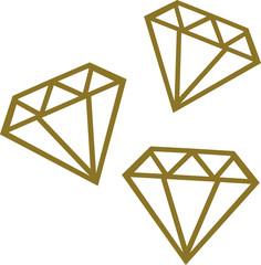 Three golden diamonds