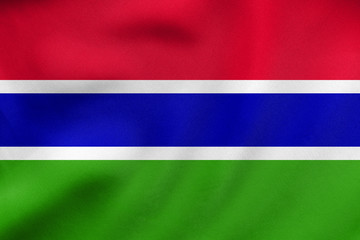 Flag of the Gambia waving, real fabric texture