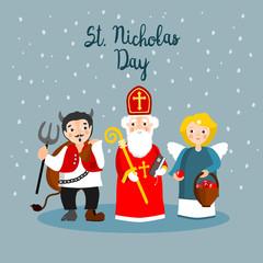 Saint Nicholas,devil and angel. Vector illustration