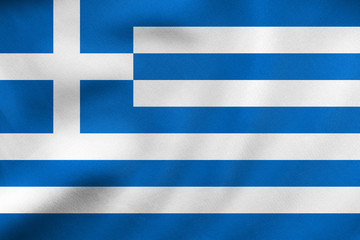 Flag of Greece waving, real fabric texture