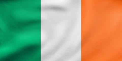 Flag of Ireland waving, real fabric texture