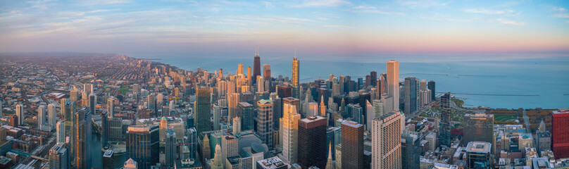 Photo sur Toile Chicago Aerial view of Chicago downtown