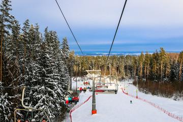 Ski resort Silichi. 40 kilometers away from Minsk. Skiing and snowboarding. Ski lift.