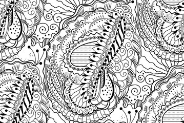 Vector zentangle seamless pattern with waving curling lines. Abstract doodle graphic black and white ornament. Floral repeating texture.