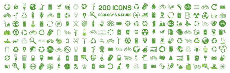 200 ecology & nature green icons set on white background. Vector Wall mural