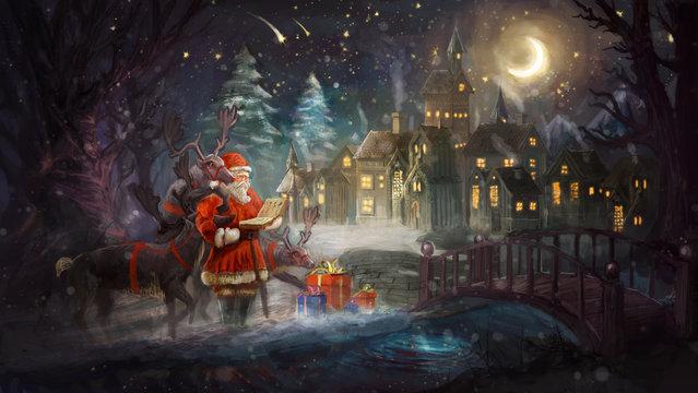 Santa and his rain dears checking gifts