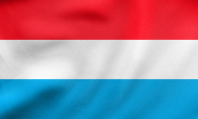 Flag of Luxembourg waving, real fabric texture