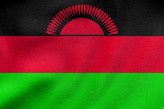 Flag of Malawi waving, real fabric texture