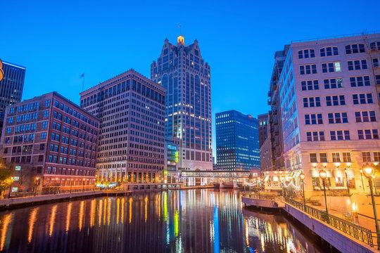 Downtown Milwaukee skyline in USA