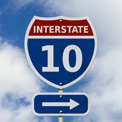 USA Interstate 10 highway sign