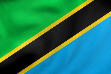 Flag of Tanzania waving, real fabric texture