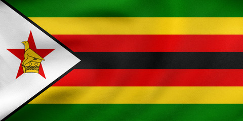 Flag of Zimbabwe waving, real fabric texture
