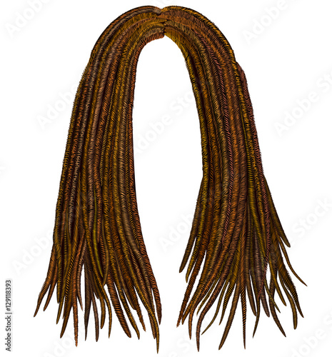 Trendy African Long Hair Dreadlocks Realistic 3d Fashion Beauty Style Fichier Vectoriel