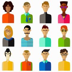 Men flat colorful avatars portraits collection