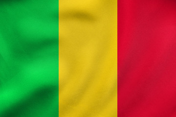 Flag of Mali waving, real fabric texture