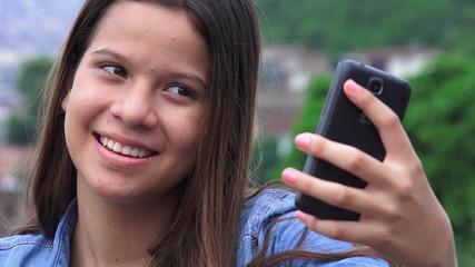 Pretty Teen Girl Posing For Selfies