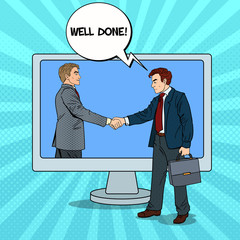 Pop Art Businessmen Shake Hands Through the Computer Screen. Business Contract. Vector illustration