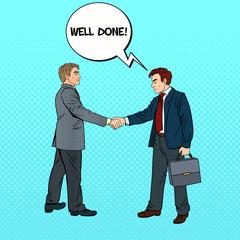 Pop Art Businessmen Shaking Hands Business Agreement. Vector illustration