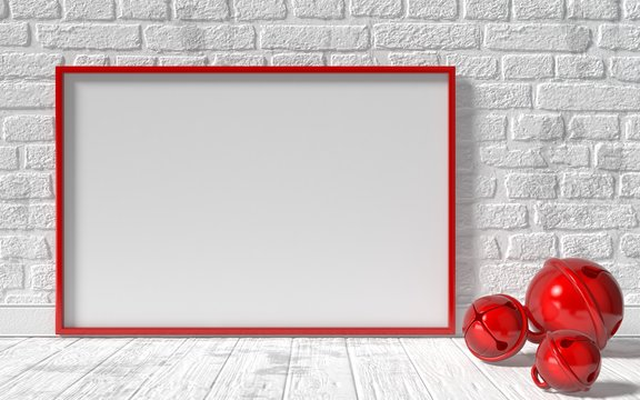 Mock-up red canvas frame, red Christmas sleigh bells and brick w