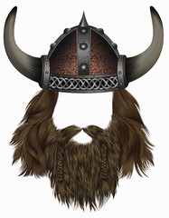 viking in  horned helmet . mask wig. man   hair with beard .