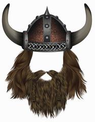 viking in  horned helmet . mask wig. man   hair with beard .