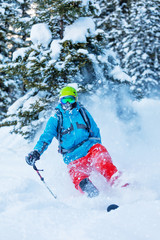 Freeze motion of freerider in deep powder snow
