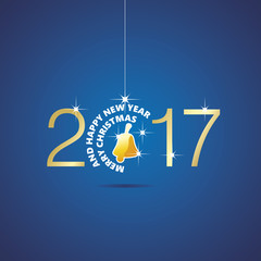 Happy New Year 2017 Christmas ball bell blue vector
