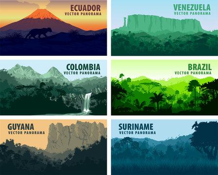 vector set of panorams countries South America - Venezuela, Brazil, Suriname, Ecuador, Colombia, Guyana