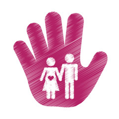 hand with couple waiting a baby over white background. colorful and sketch design. vector illustration