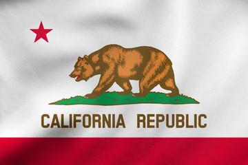 Flag of California waving, real fabric texture