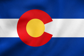 Flag of Colorado waving, real fabric texture