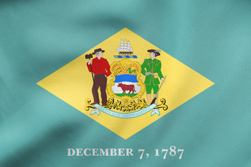 Flag of Delaware waving, real fabric texture