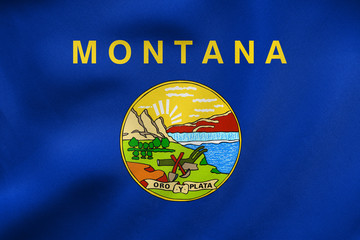 Flag of Montana waving, real fabric texture